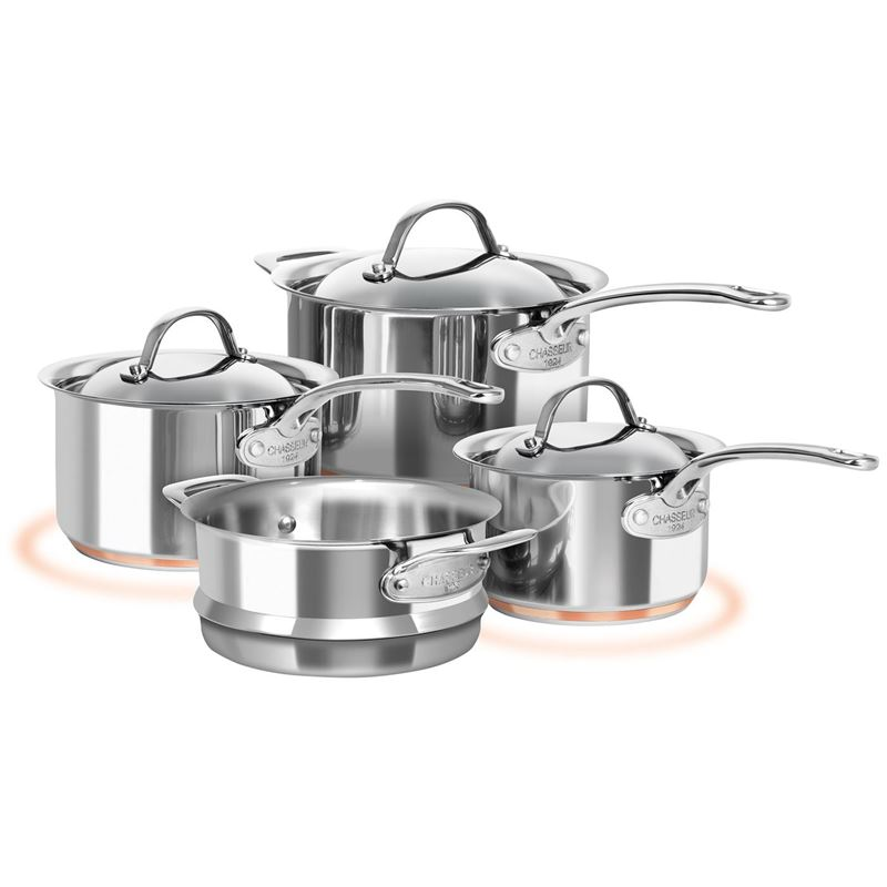 Chasseur – Le Cuivre Stainless Steel Copper Based 4pc Saucepan and Steamer Set