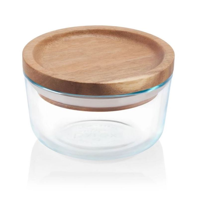 Pyrex Wooden Storage 2 Cup with Lid 350g