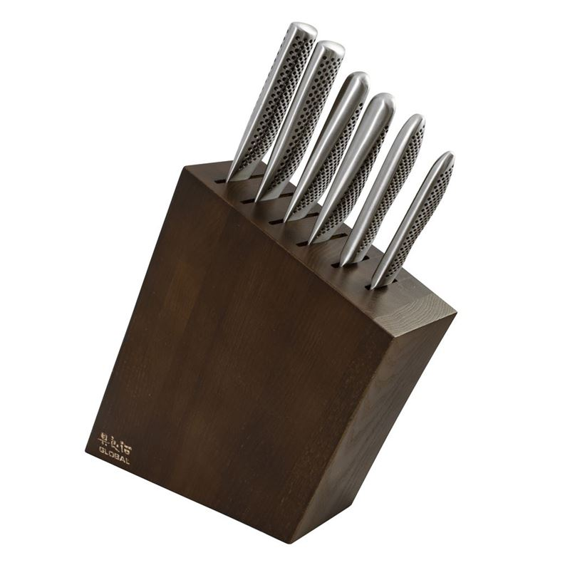 Global – Kyoto7 piece Professional Knife Block Set Stained Ash (Made in Japan)