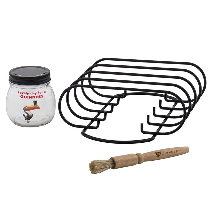 Guinness – Gilroy BBQ Rib Rack, Jar and Brush 3pc Set