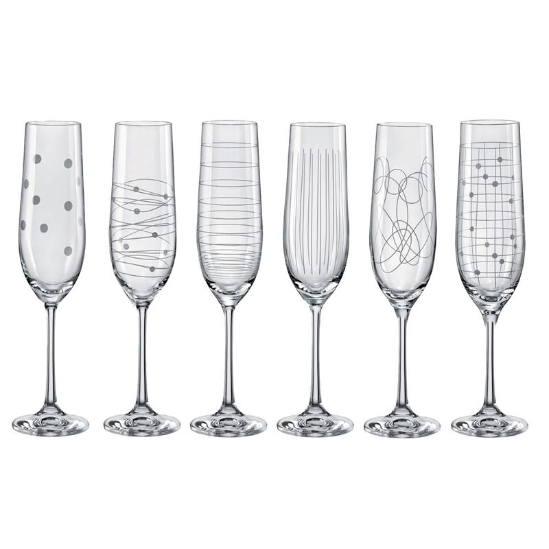Bohemia – Elements Champagne Flute 190ml Set of 6 (Made in the Czech Republic)