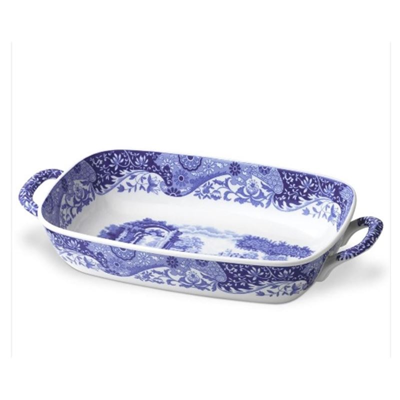 Spode – Blue Italian Handled Serving Dish 29×20.5cm