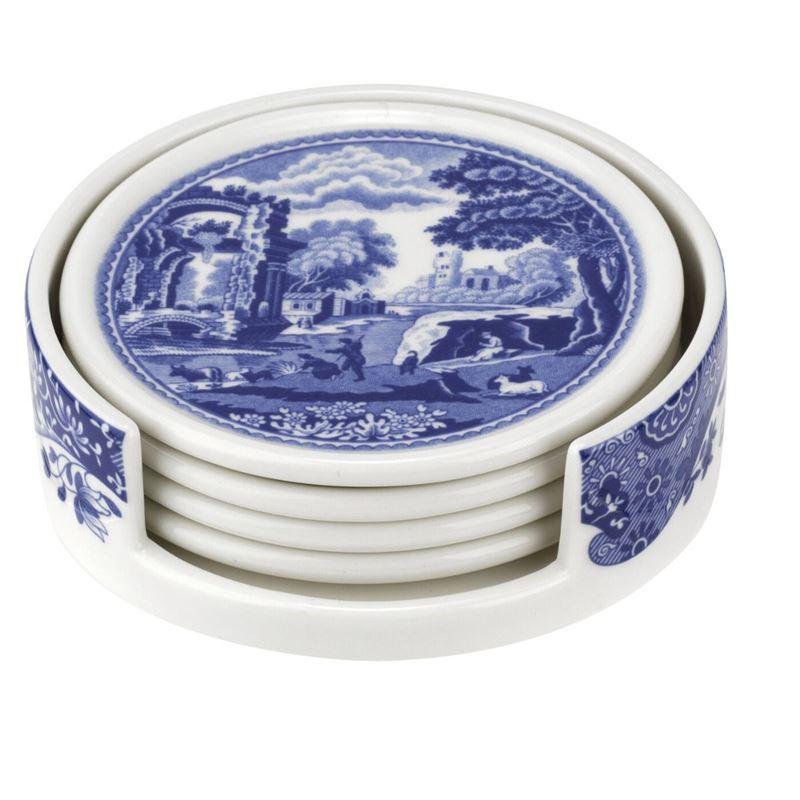 Spode – Blue Italian Round Ceramic Coasters Set of 4 with Holder