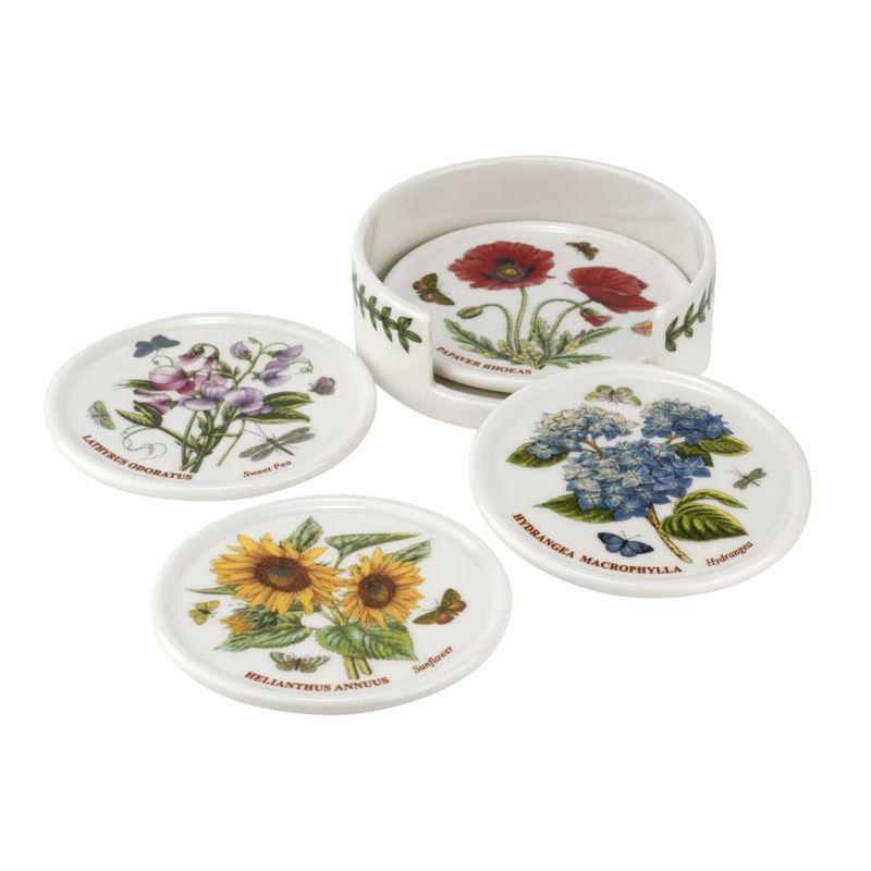 Portmeirion Botanic Garden – Set of 4 Ceramic Coasters with Holder 9.5cm
