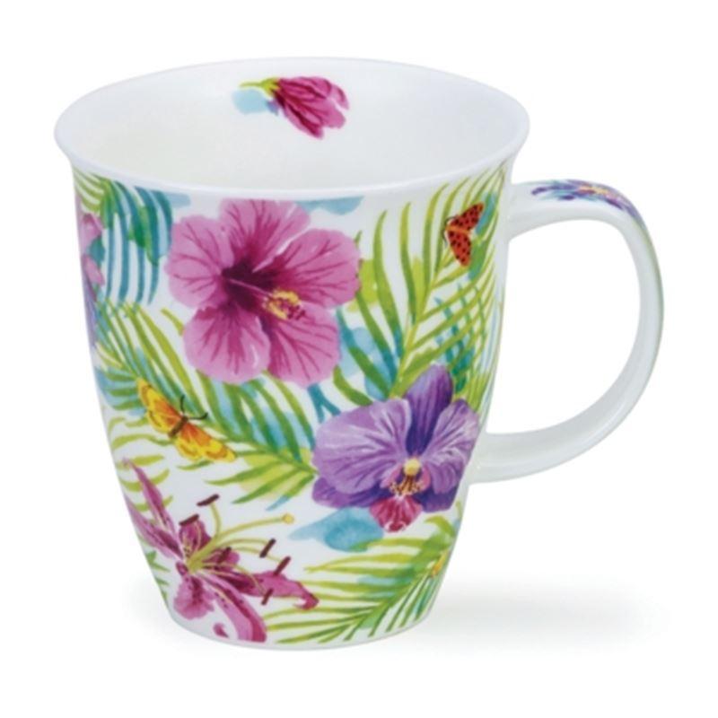 Dunoon – Nevis Bone China Mug 480ml Tropicana Pink Hibiscus (Made in England)