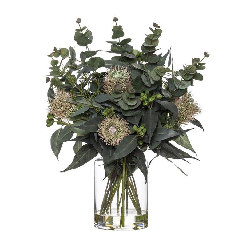 Rogue – Banksia & Eucalyptus Mix in Pail Vase 41x41x56cm Pink