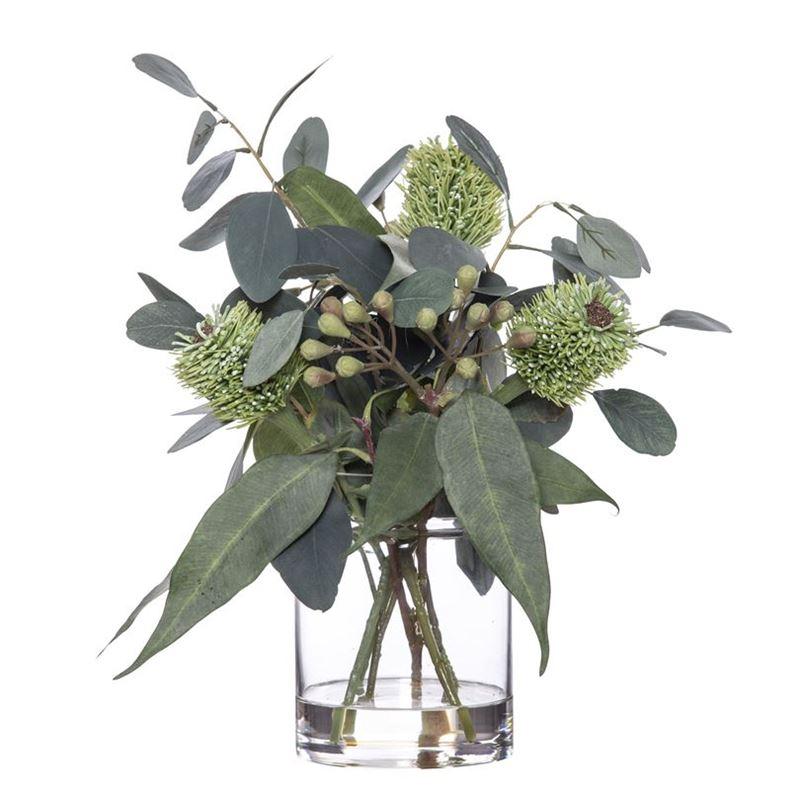 Rogue – Banksia & Eucalyptus Mix in Pail Vase 33x33x43cm Green