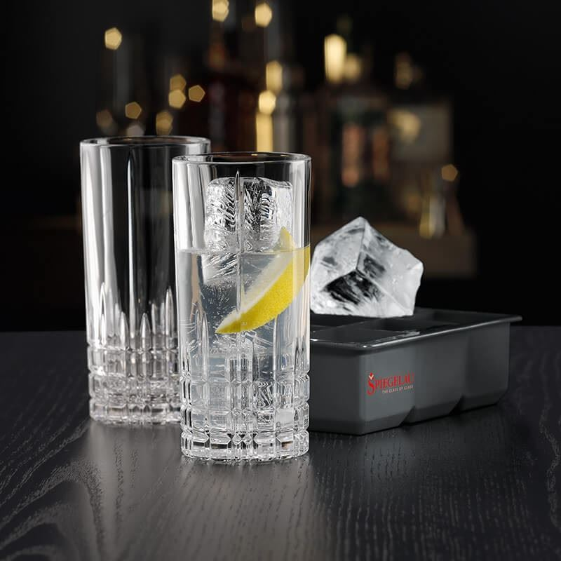 Spiegelau – Perfect Serve Collection by Stephan Hinz 3pce Set High Ball Pair & Ice Cube Tray (Made in Germany)