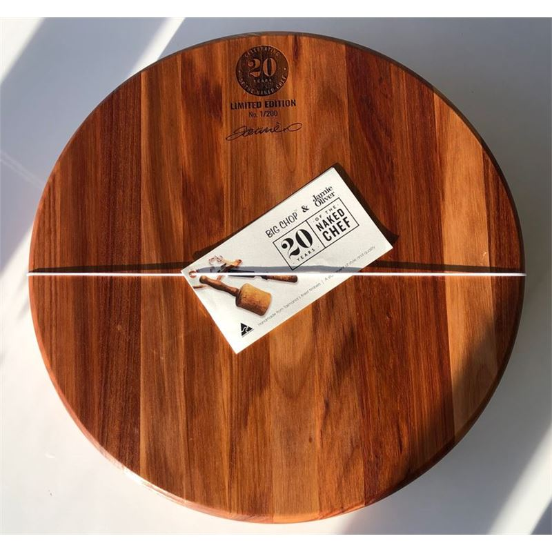 Jamie Oliver & Big Chop – 20 Years of the Naked Chef LIMITED EDITION Round Chopping Block 40x7cm (Made in Australia)