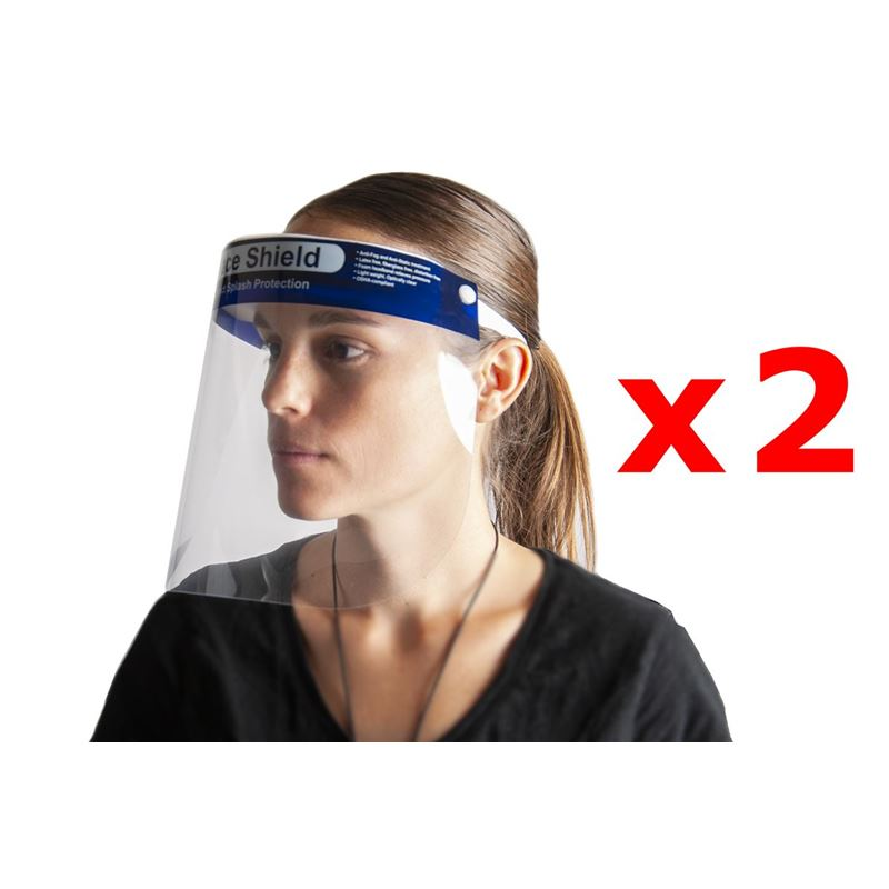 Pack of 2 Face Shields Blue Foam Head Band 23x28cm – Non Medical