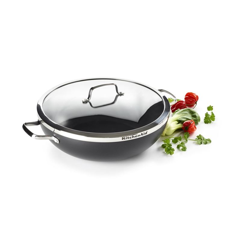 KitchenAid – Premium Non-Stick Induction JUMBO Double Handled Wok with Lid 36cm