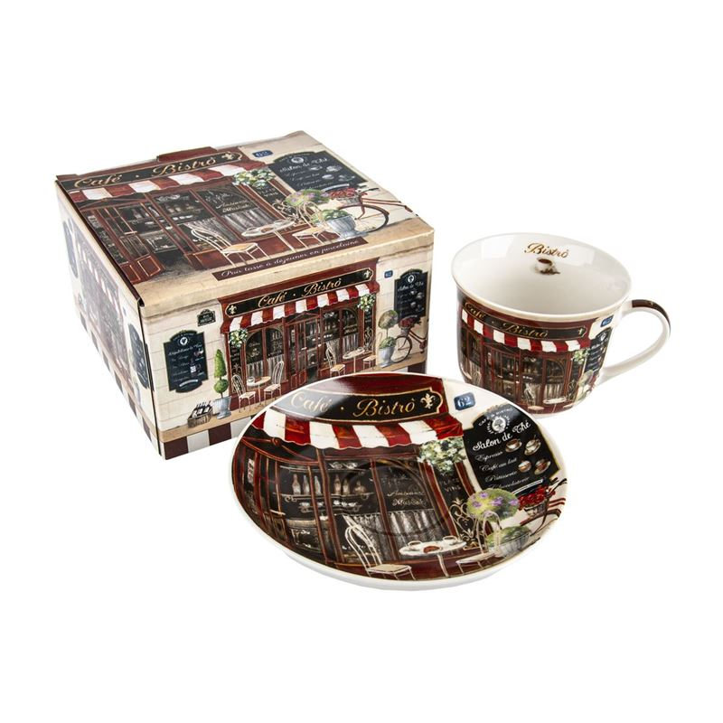 Easy Life Nostalgic Ceramics – Cafe Bistrot Breakfast Cup and Saucer 400ml