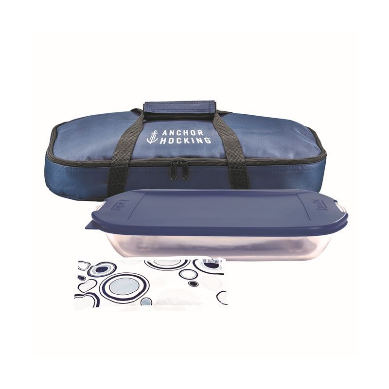 Anchor Hocking – Bake n Take 4pc Baker, Lid, Hot/Cold Pack and Carry Bag Set (Made in the U.S.A)