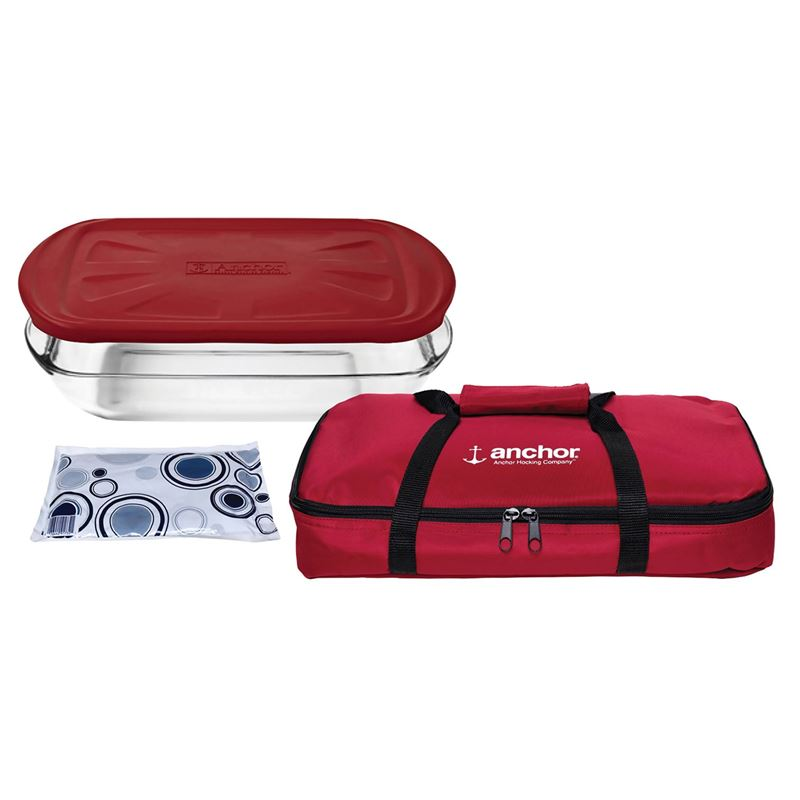 Anchor Hocking – Bake n Take 4pc Baker with Lid, Hot/Cold Pack and Carry Bag Set Red (Made in the U.S.A)
