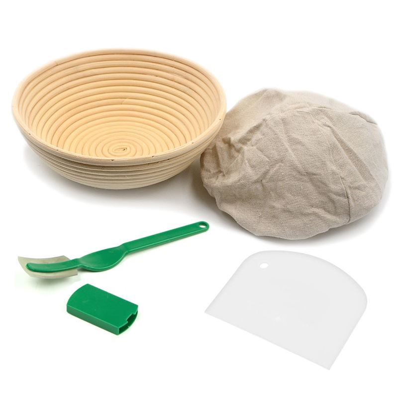 Brunswick Bakers – 4 PCE BOXED SET Banneton 23cm Round, Lining with Bread Lame and Scraper