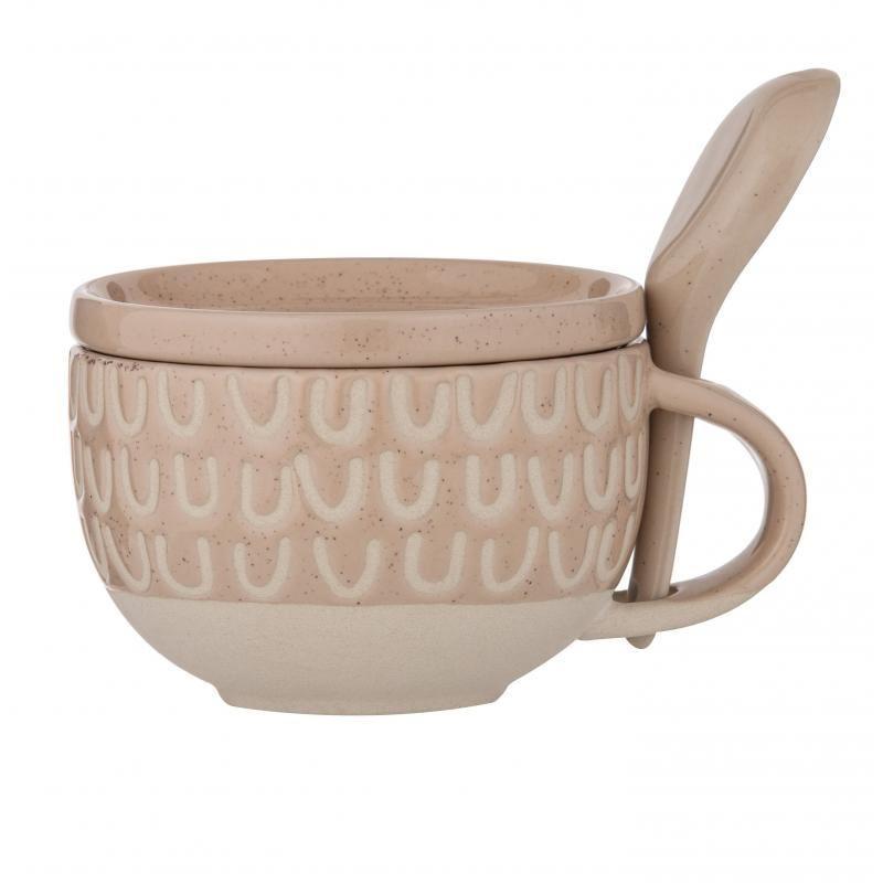 Davis & Waddell – Kitson 500ml Soup Mug, Spoon and Lid Nude/Natural