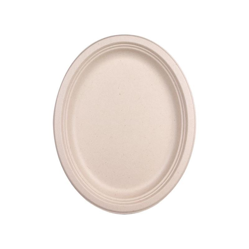 Eco Basics – Biodegradable Sugarcane 32cm Oval Plate Pack of 10