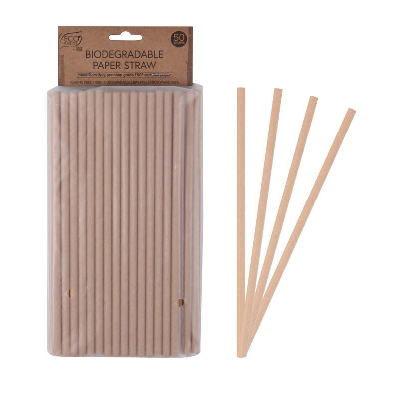 Eco Basics – Biodegradable Sugarcane Paper Straws Pack of 50