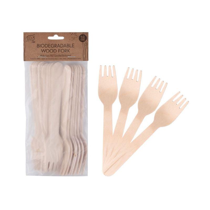 Eco Basics – Biodegradable Wood Fork Pack of 18