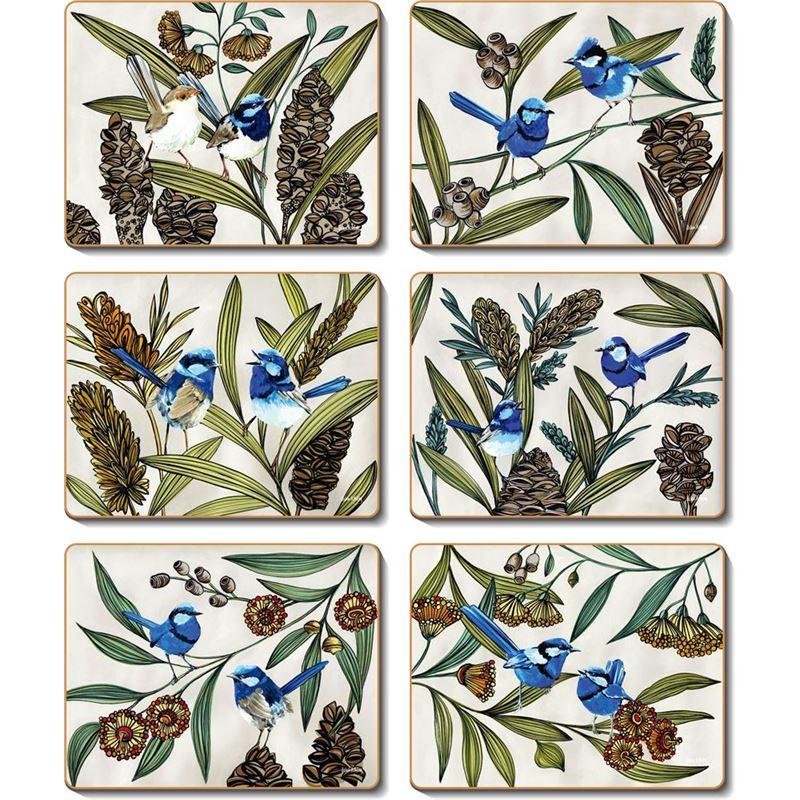 Cinnamon – Blue Wren Coaster 11×9.5cm Set of 6