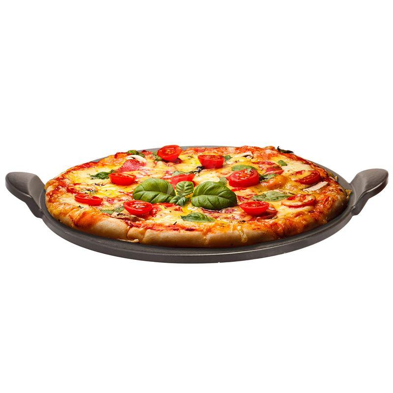 Tradizione Italiana by Benzer – Gourmet Pizza Stone 33cm with Black Handles