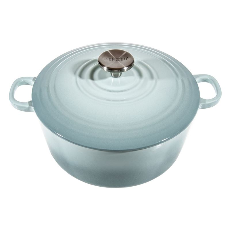 Benzer – Kristoff Cast Iron 24cm Chef's Casserole with Stainless Steel Knob 4.2Ltr Duck Egg Blue