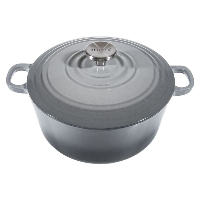 Benzer – Kristoff Cast Iron 28cm Chef's Casserole with Stainless Steel Knob 6.6Ltr Lava Grey