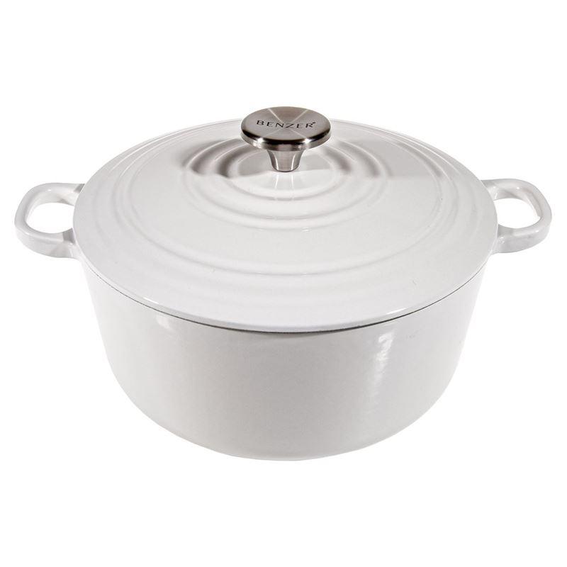 Benzer – Kristoff Cast Iron 28cm Chef's Casserole with Stainless Steel Knob 6.6Ltr Flour White