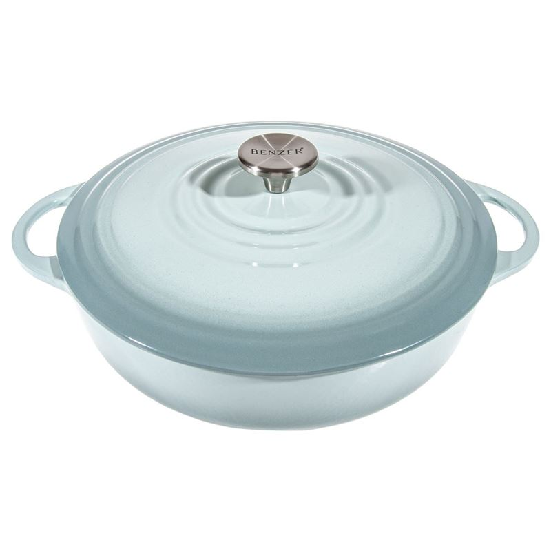 Benzer – Kristoff Cast Iron 28cm Low Casserole with Stainless Steel Knob 4Ltr Duck Egg Blue