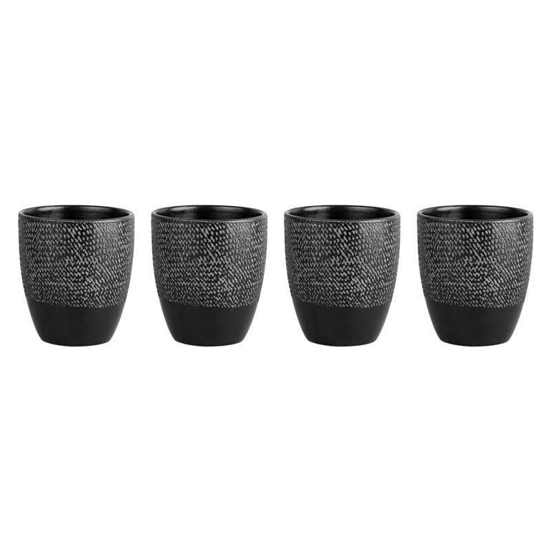 Zuhause – Studio Supreme Stoneware 4 Pce Cup Set 295ml Matt Black