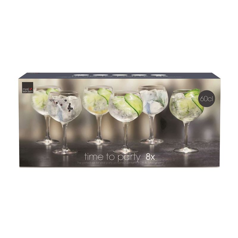 Royal Leerdam – Time to Party Gin & Tonic 650ml Glasses Set of 8 (Made in The Netherlands)