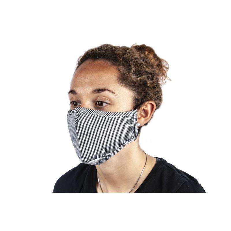 Check Fabric Fashion Face Mask Black – Non-Medical