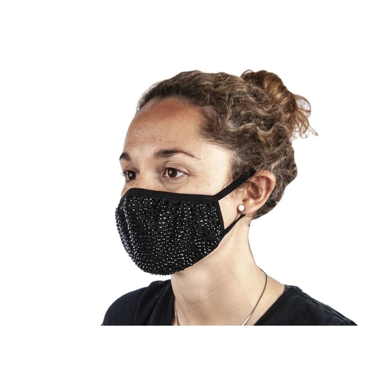 Bling Beaded Fashion Face Mask Black – Non-Medical
