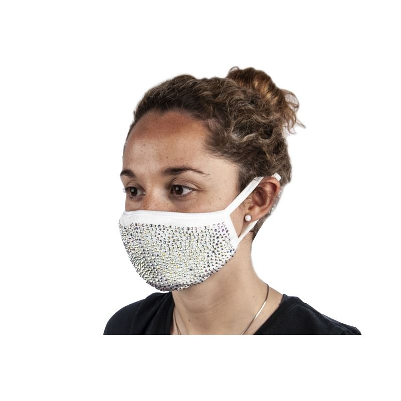Bling Beaded Fashion Face Mask White – Non-Medical