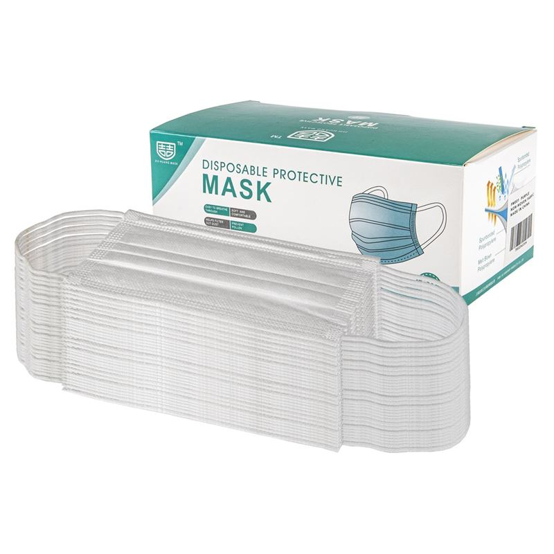 3-Ply Disposable Non Medical Face Mask Pack of 50 – White