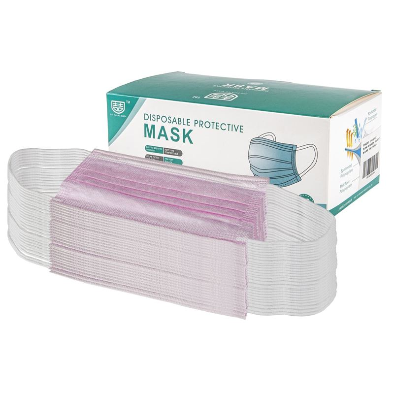 3-Ply Disposable Non Medical Face Mask Pack of 50 – Pink