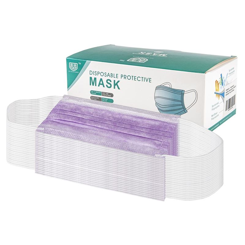 3-Ply Disposable Non Medical Face Mask Pack of 50 – Purple