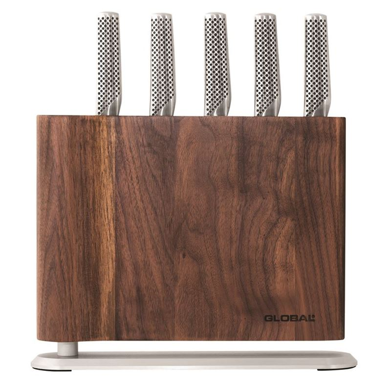 Global – Uku 6 piece Knife Block Set Walnut(Made in Japan)