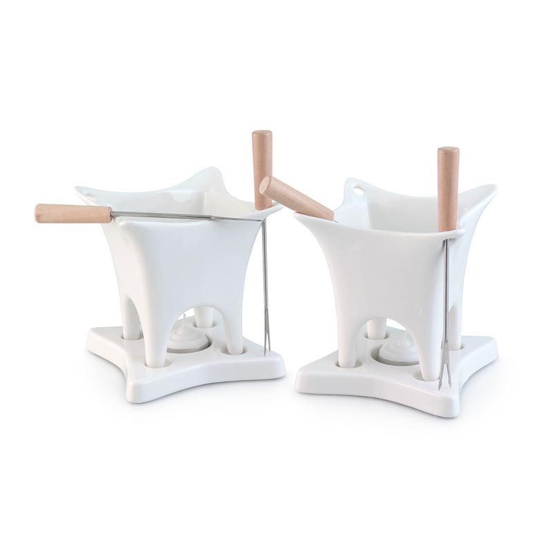 Swissmar – Harmony Duo White Ceramic 10 Piece Fondue Set