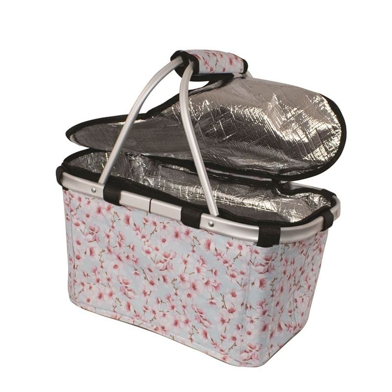 Karlstert – Two Handled Foldable Carry Basket with Zip Lid Blossoms