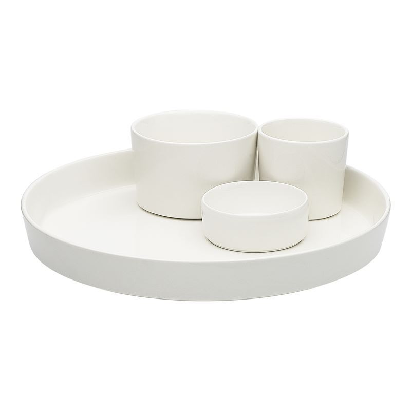 Ecology – Origin Durable Porcelain Entertaining 4pc Platter and Dipping Bowls Set