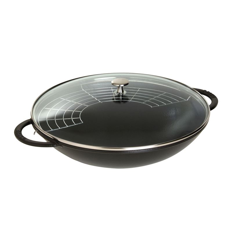 Staub – Cast Iron 37cm Wok with Glass Lid 5.7Ltr Black (Made in France)