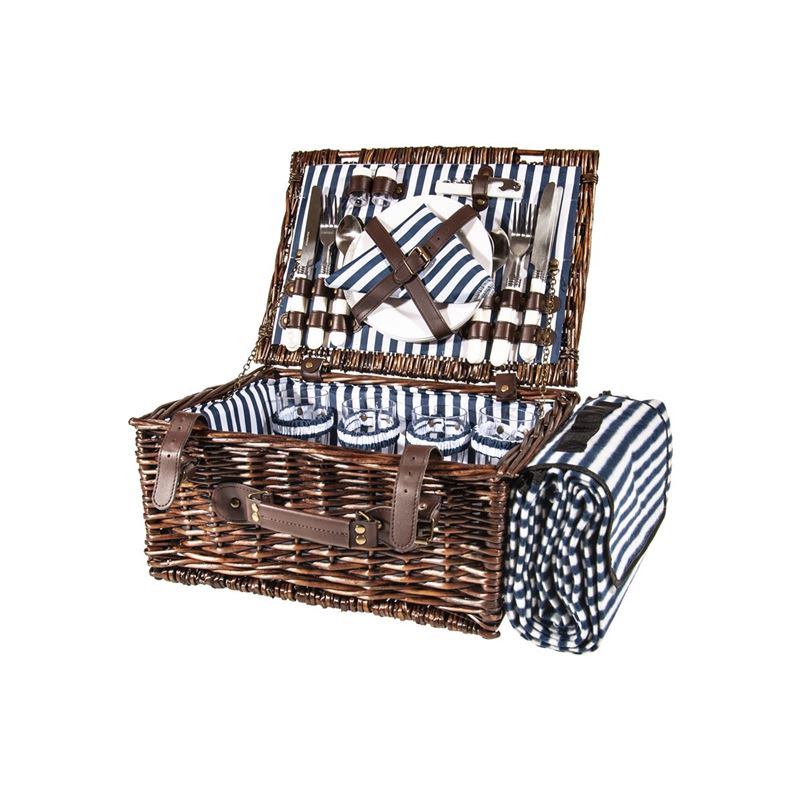 Zuhause – Cabana Picnic Basket for 4 with Picnic Rug 40x30x19cm