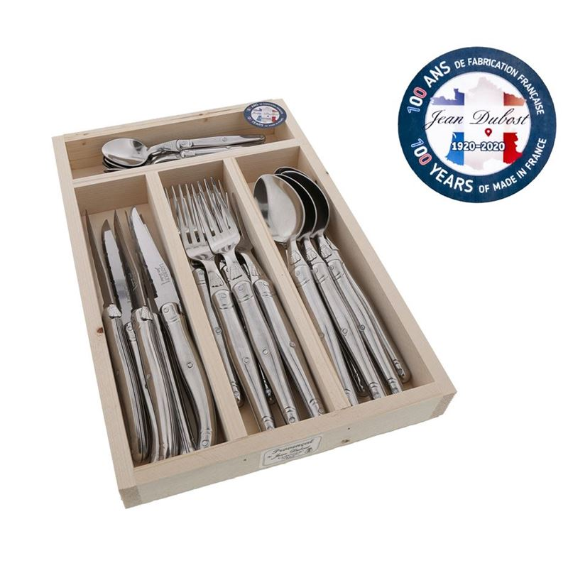 Laguiole by Jean Dubost – Authentic French Made Provencal Stainless Steel 24pc Cutlery Set (Made in France)