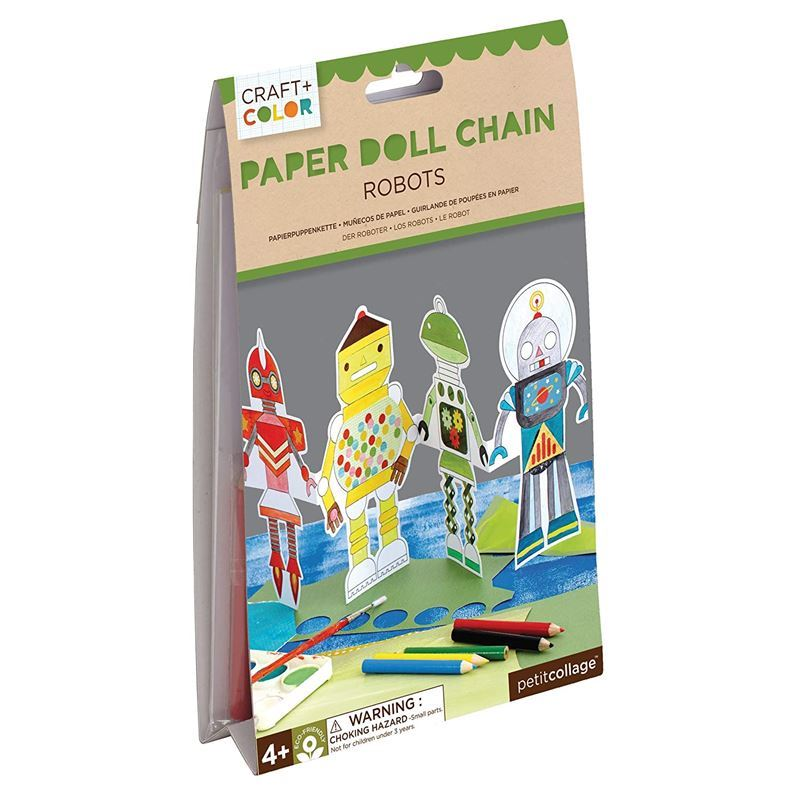 Petit Collage – Robot Paper Doll Chain Craft Dolls