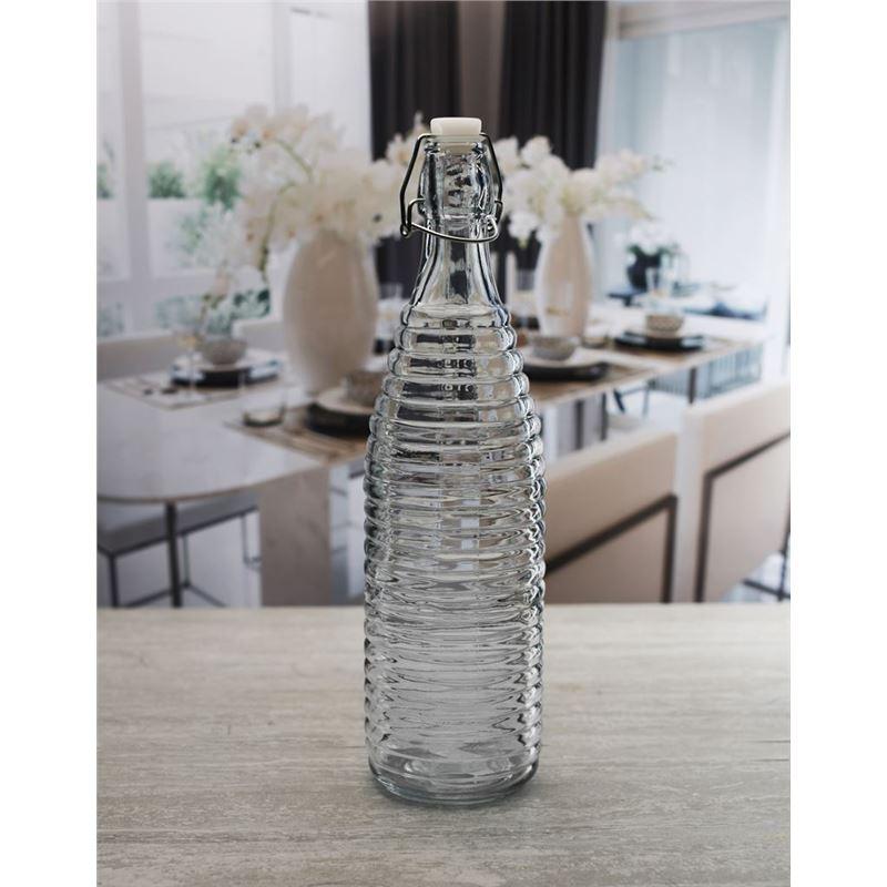 Circleware – Spiral 960ml Hemetic Embossed Glass Bottle
