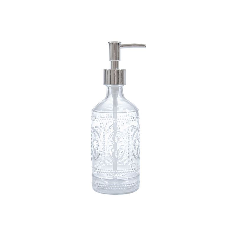 Circleware – Vintage Retro Northridge Embossed Clear Glass Soap Pump