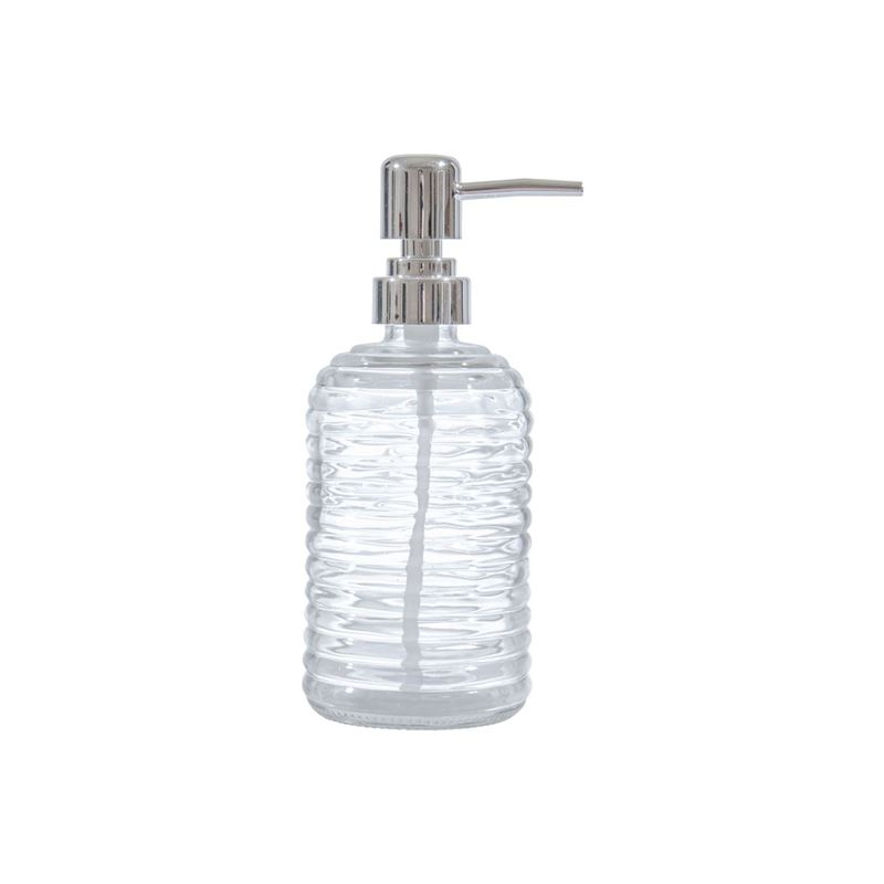 Circleware – Vintage Retro Ribbed Round Base Clear Glass Soap Pump