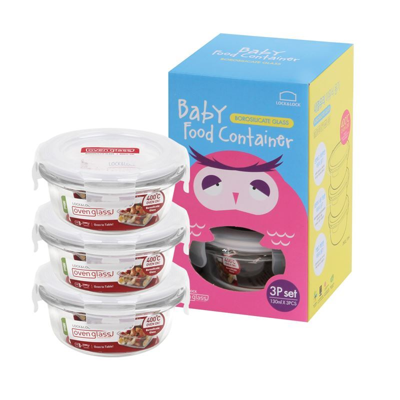 Lock & Lock – Baby Food Container Round 130ml Set of 3