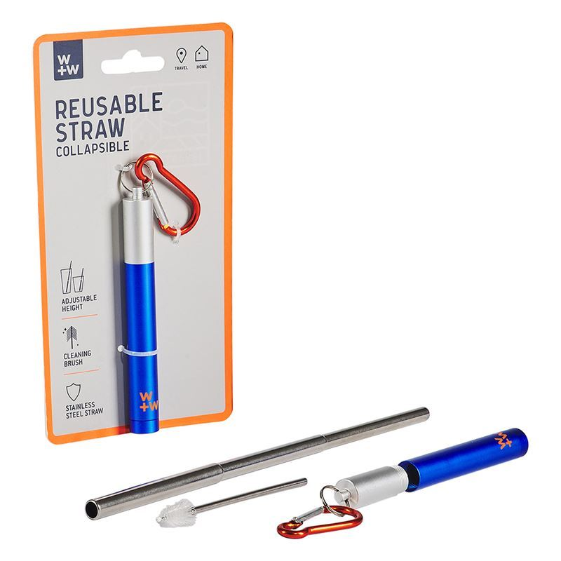 Wild + Wolf – Stainless Steel Re-Usable Straw in Carry Case & Cleaning Brush